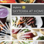 The cover of a book, called, Skyterra at Home The Cookbook: Simple Recipes to Elevate Your Meals with images of various bowls of food in the background and surrounding the title.