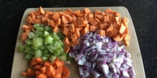 ingredients for sweet potato, ginger, coconut soup