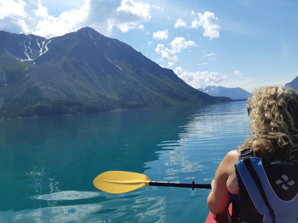 Kayaking on Kathleen Lake, Kluane National Park, Yukon
